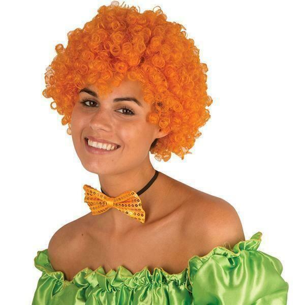 Pruik krul oranje clown