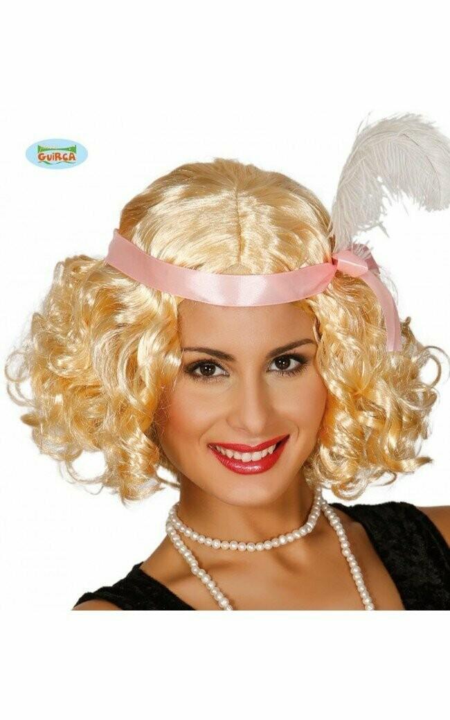 Pruik Charleston blond met krullen + hoofdband roze