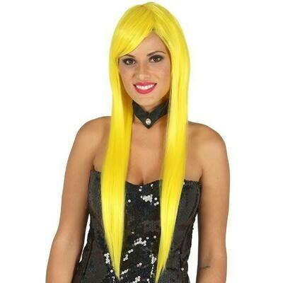 Pruik geel , lang met pony