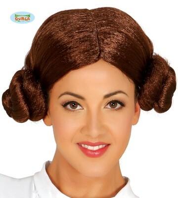 Pruik met dotjes bruin Prinses Leia Star Wars