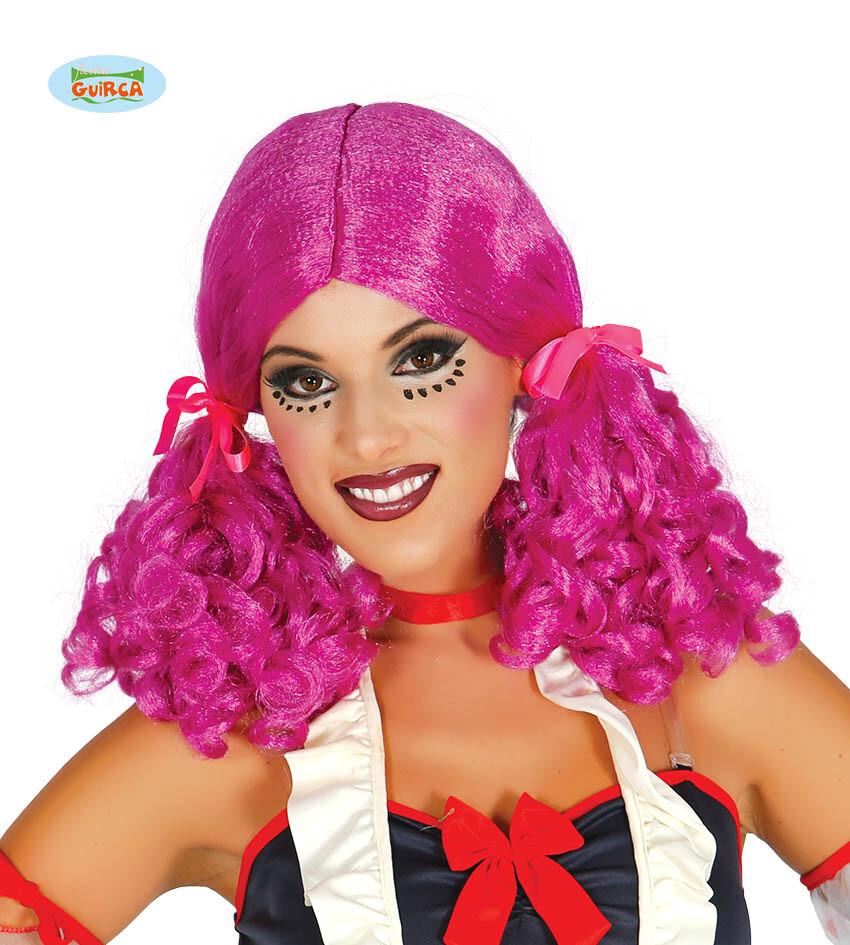 Pruik paars met krullen in staartjes Doll Popje Creepy