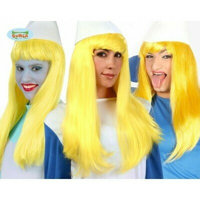 Pruik geel effen lang : Smurfin , Annemieke , Rozemieke
