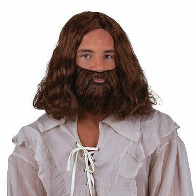 Pruik en baard Jezus Holy man donkerbruin