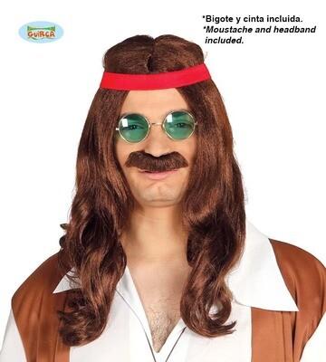 Pruik en snor Hippie man bruin