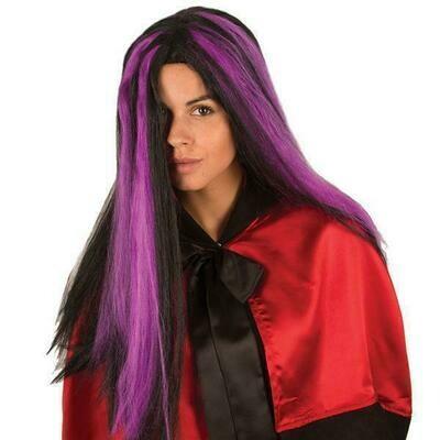 Pruik lang zwart met paarse stressen , Halloween heks