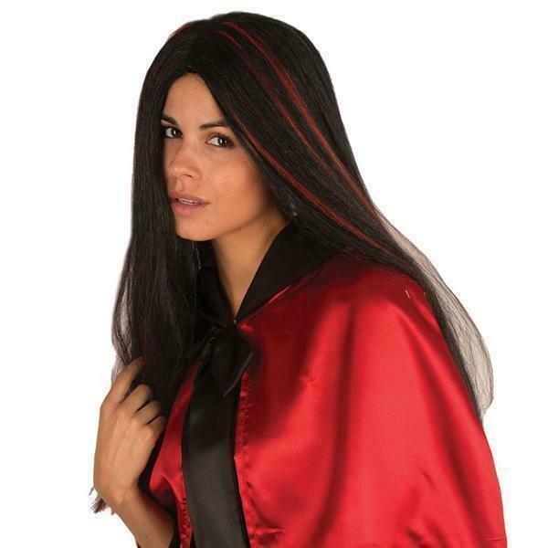 Pruik lang zwart met rode stressen , Halloween vampierendame