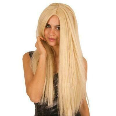 Pruik lang effen blond Hippie seventies