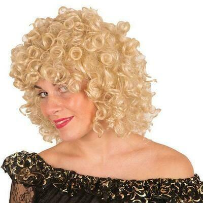 Pruik blond gekruld , halflang