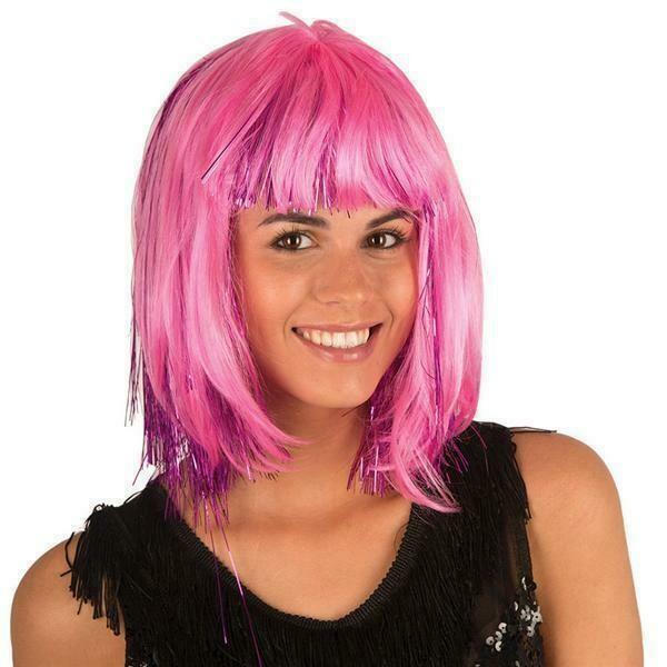 pruik halflang met pony roze met glitters