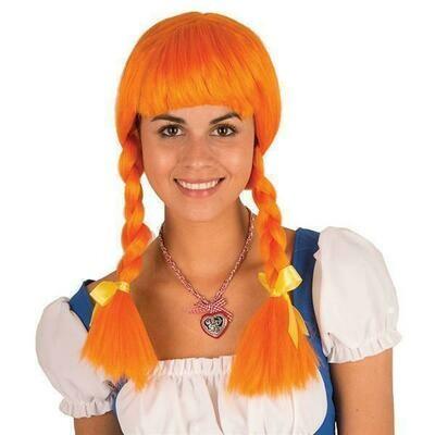Pruik met vlechten oranje Pipi Langkous