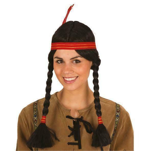 Pruik Indiaanse Squaw met hoofdband en pluim