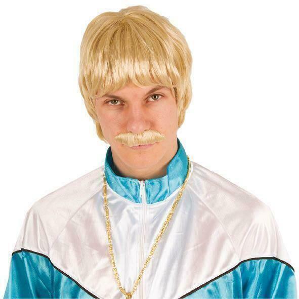 Pruik met snor blond