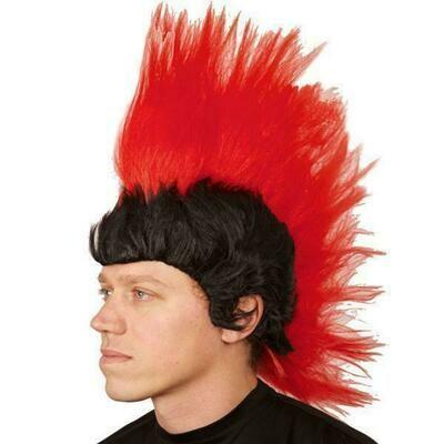 Pruik Mohawk indiaan / Punk zwart en rood