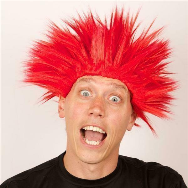 Pruik Electric shock trol Rood