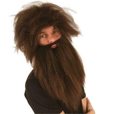 Pruik en baard bruin Holbewoner oermens