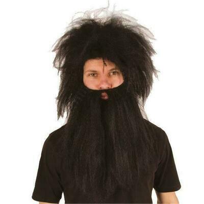 Pruik en baard zwart Holbewoner oermens