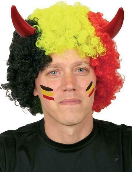 Pruik Rode Duivels gekruld met horens Tricolor driekleur Belgïe