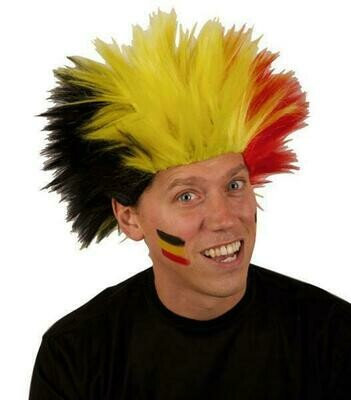 Pruik Belgïe tricolor driekleur Rode duivels WK Electric shock