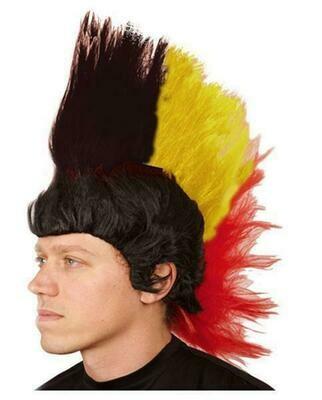 Pruik Belgïe Punk tricolor driekleur Rode duivels WK