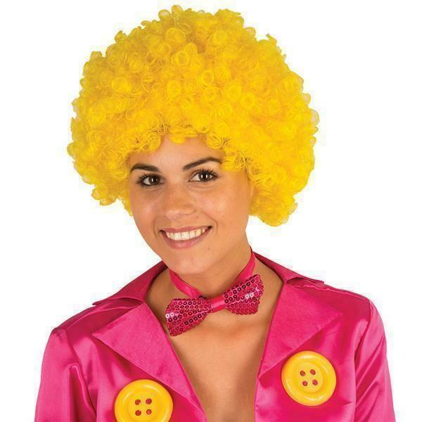 Pruik krul geel Clown