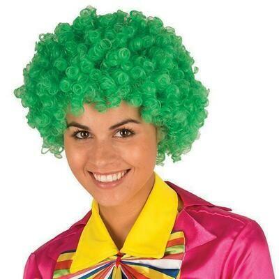 Pruik krul Groen clown
