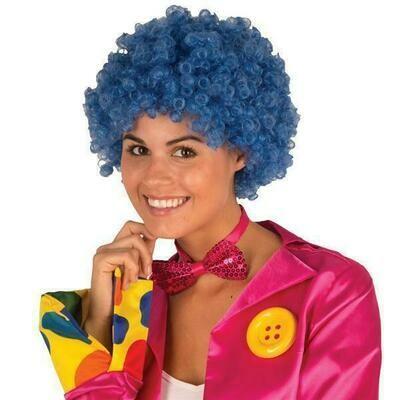 Pruik krul Blauw clown