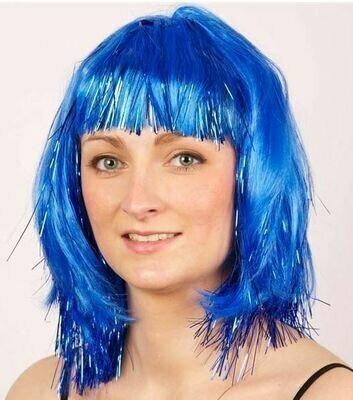 pruik halflang met pony blauw met blauwe glitters