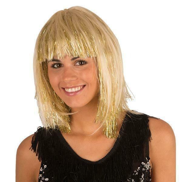 pruik halflang met pony blond met gouden glitters