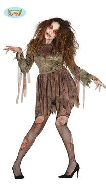 Zombie meisje kleed Walking Death kostuum voor volwassenen verkleedkledij