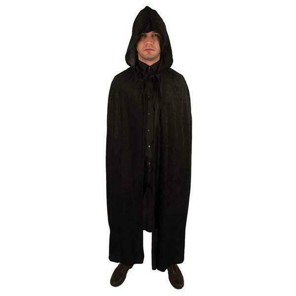 Zwarte cape Halloween kostuum zwart met kap voor volwassenen