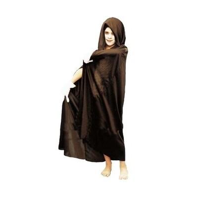 Zwarte cape Halloween kostuum met kap zwart voor kinderen