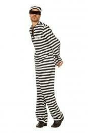 Gevangenispak zwart - wit kostuum boef volwassenen