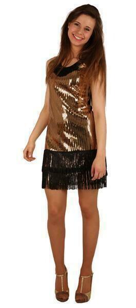 Charleston kleedje goud Twenties verkleedkostuum dames jaren '20 volwassenen Great Gatsby