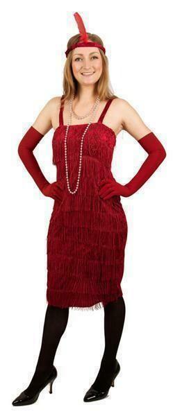Charleston kleedje rood Twenties verkleedkostuum dames jaren '20 volwassenen Great Gatsby