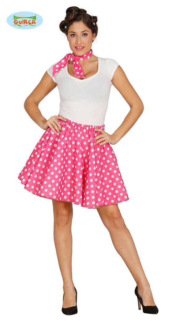 Fifties rokje + sjaaltje Roze met witte bolletjes voor volwassenen