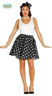 Fifties rokje + sjaaltje Zwart met witte bolletjes voor volwassenen