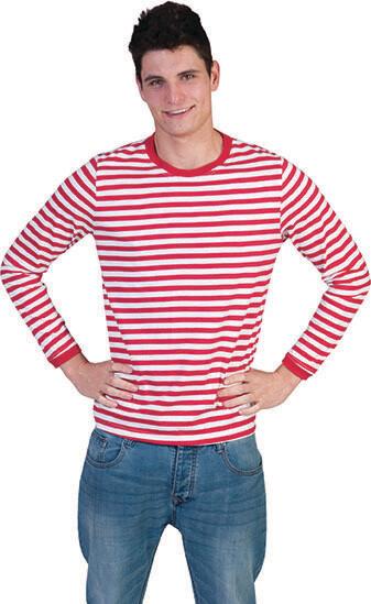 T-shirt Rood - wit gestreept longsleeve volwassenen