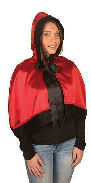 Rood kapje , korte cape rood met zwart