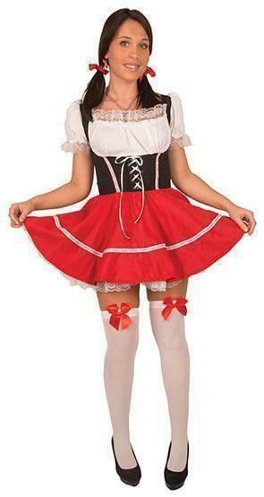 Tirools kleedje in wit , zwart en rood volwassenen Dirndl Oberbayern bierfeesten