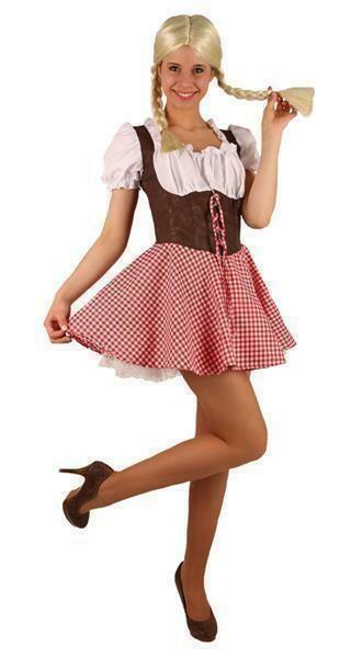 Tirolermeisje dames in wit , bruin en geruit rokje Dirndl Oberbayern Bierfeesten