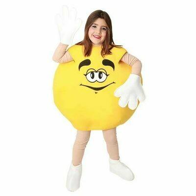 M&M geel snoepje kostuum kind verkleedkledij