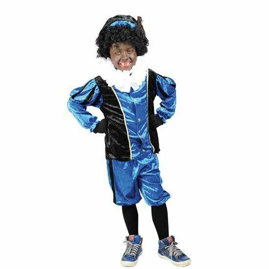 Zwarte Piet kind kostuum verkleedkledij Blauw - Zwart