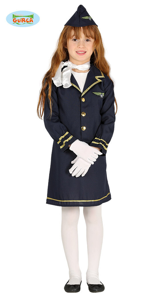 Stewardess kostuum kind verkleedkledij Airhostess 5 tot 6 jaar Maat 116