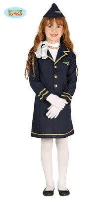 Stewardess kostuum kind verkleedkledij Airhostess 3 tot 4 jaar maat 104