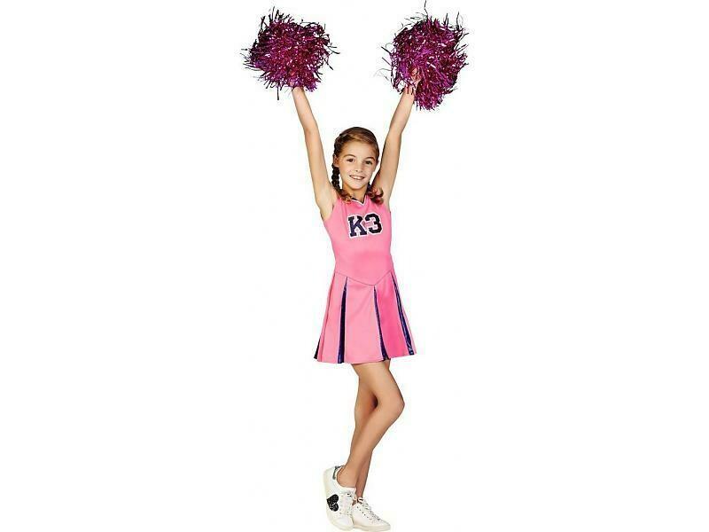 K3 kleedje cheerleader mét pompons Studio 100 verkleedkledij maat 134 voor 6 tot 8 jaar