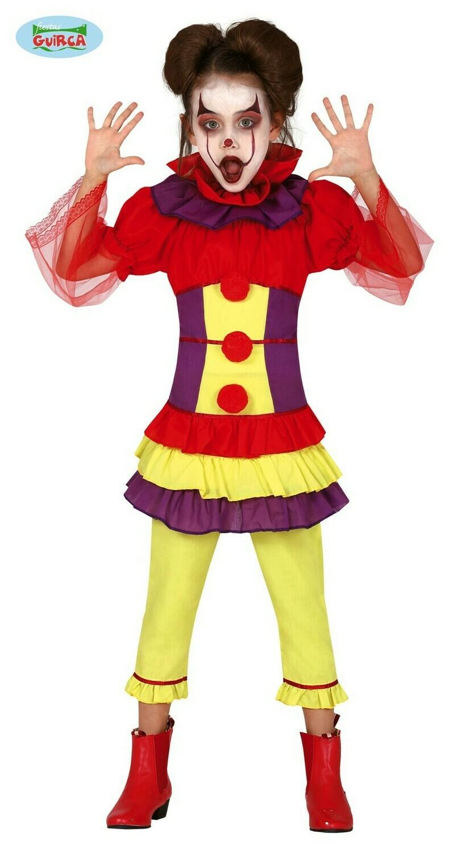 Clown meisje kostuum kind verkleedkledij Carnaval Halloween Meisjesclown scary creepy Maat 128