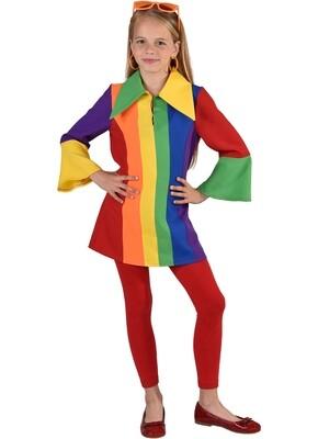 Regenboog kleedje kind Rainbow clown meisje verkleedkledij Fout carnaval