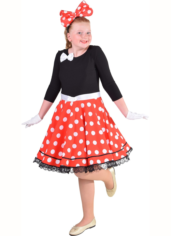 Minnie Mouse kostuum kind Disney verkleedkledij en Rock and Roll Maat 128 voor 8 jaar