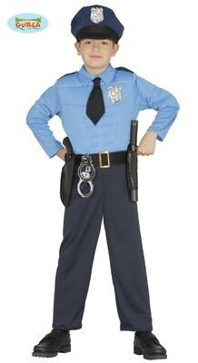 Politie gespierd kostuum kind agent verkleedkledij voor 7 tot 9 jaar Maat 128