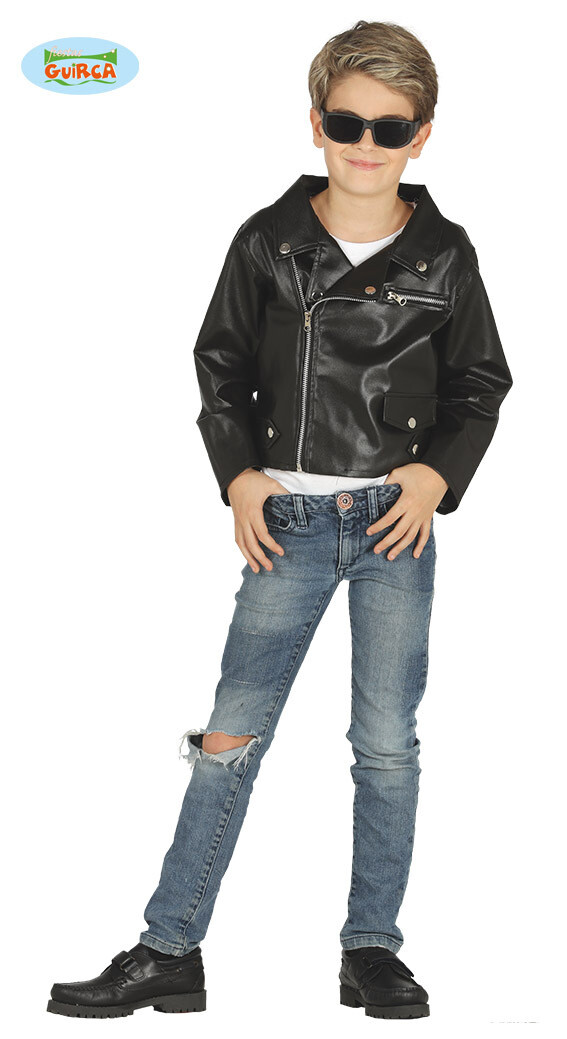 lederen vestje zwart nep leer Grease kind biker verkleedkledij Rock and Roll voor 7 tot 9 jaar Maat 128
